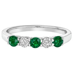 Five-Stone Emerald and Diamond Band Ring