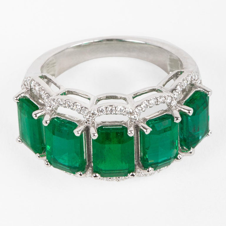 For Sale: undefined Five Stone Emerald Cocktail Ring 2