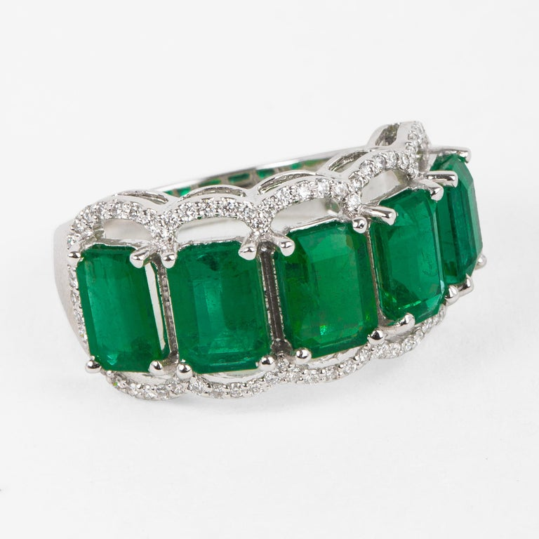 For Sale: undefined Five Stone Emerald Cocktail Ring 3