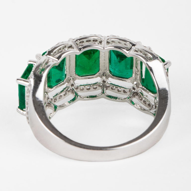 For Sale: undefined Five Stone Emerald Cocktail Ring 4