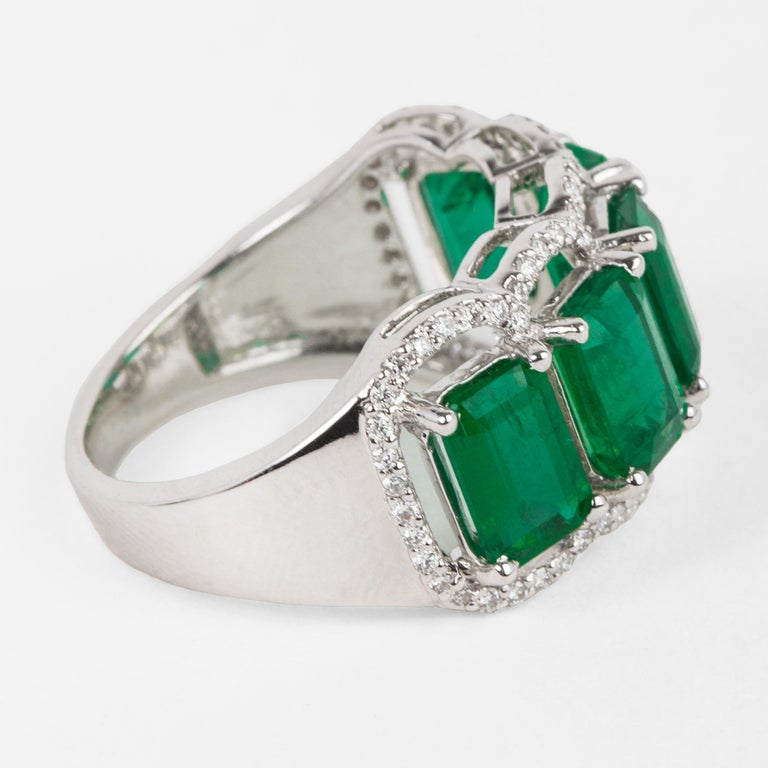 For Sale: undefined Five Stone Emerald Cocktail Ring 5