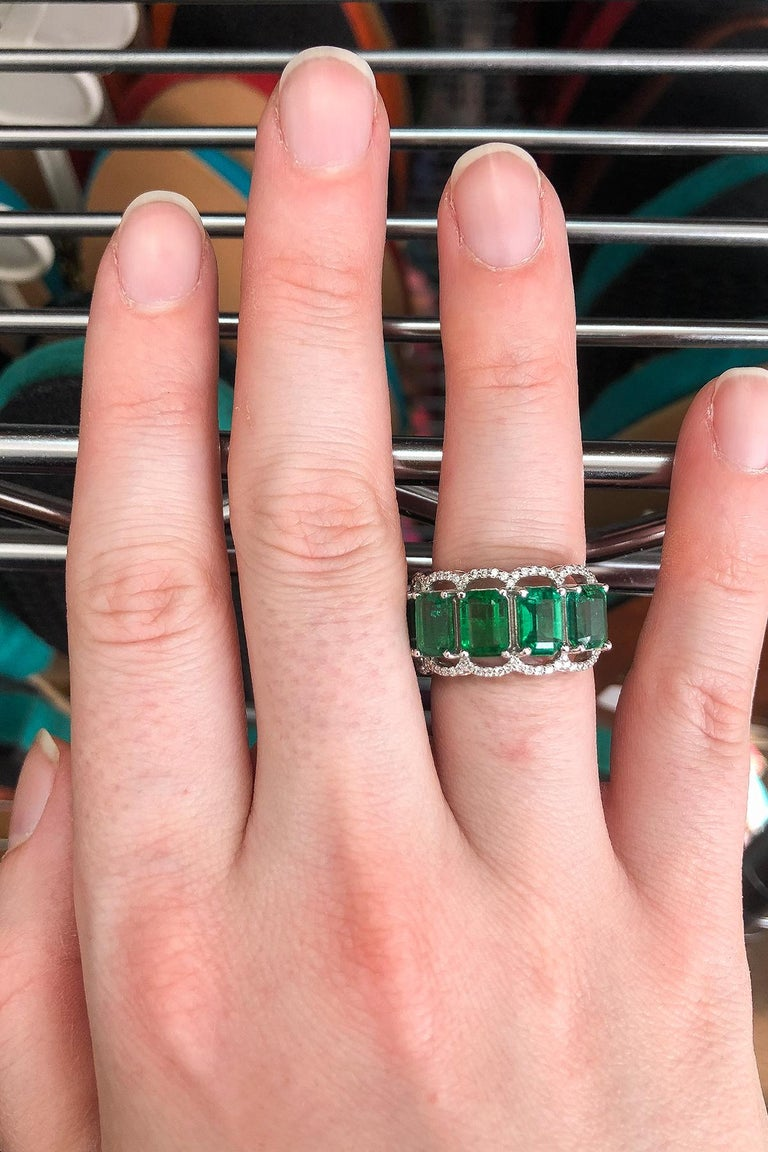 For Sale: undefined Five Stone Emerald Cocktail Ring 6