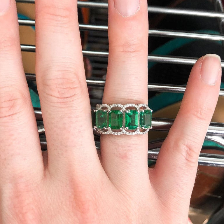 For Sale: undefined Five Stone Emerald Cocktail Ring 7