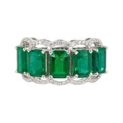 Five Stone Emerald Cocktail Ring