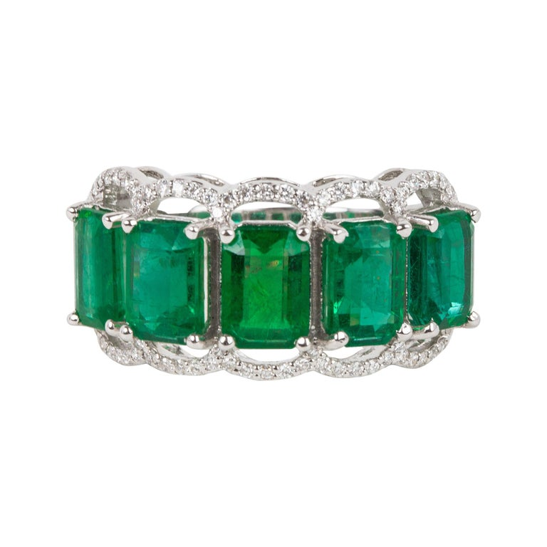 For Sale: undefined Five Stone Emerald Cocktail Ring