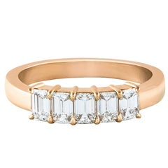 Five-Stone Emerald Cut Diamond Rose Gold Wedding Band Ring