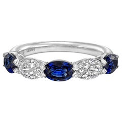 Five-Stone Oval Sapphire and Diamond Band Ring
