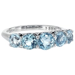 Five-Stone Platinum Ring with Antique-Cut Graduated Natural Aquamarines