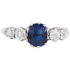 Five-Stone Ring with Center Sapphire