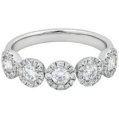 Roman Malakov Five-Stone Round Diamond Halo Wedding Band