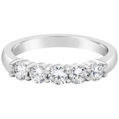 Five-Stone Round Diamond Wedding Band in White Gold