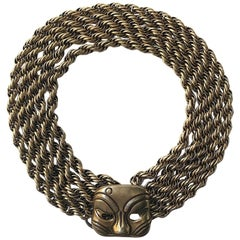 Five Strand Gold Rope Necklace with Kabuki Mask Clasp