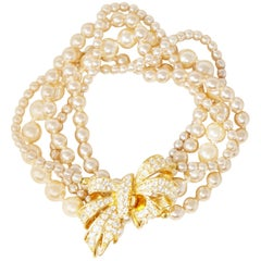 Five Strand Pearl Bracelet with Crystal Pavé Bow Clasp by Nolan Miller, 1980s