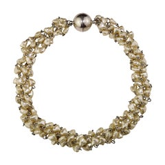 Five-Strand Pearl Choker Necklace with Magnetic Clasp
