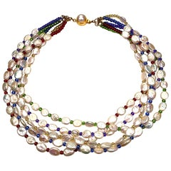 Five-Strand Pearl Necklace with Multi-Color Beads