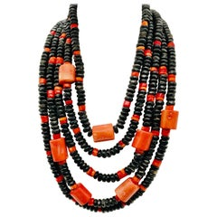 Five strand Vintage Coral and black bone Statement Necklace by Sylvia Gottwald