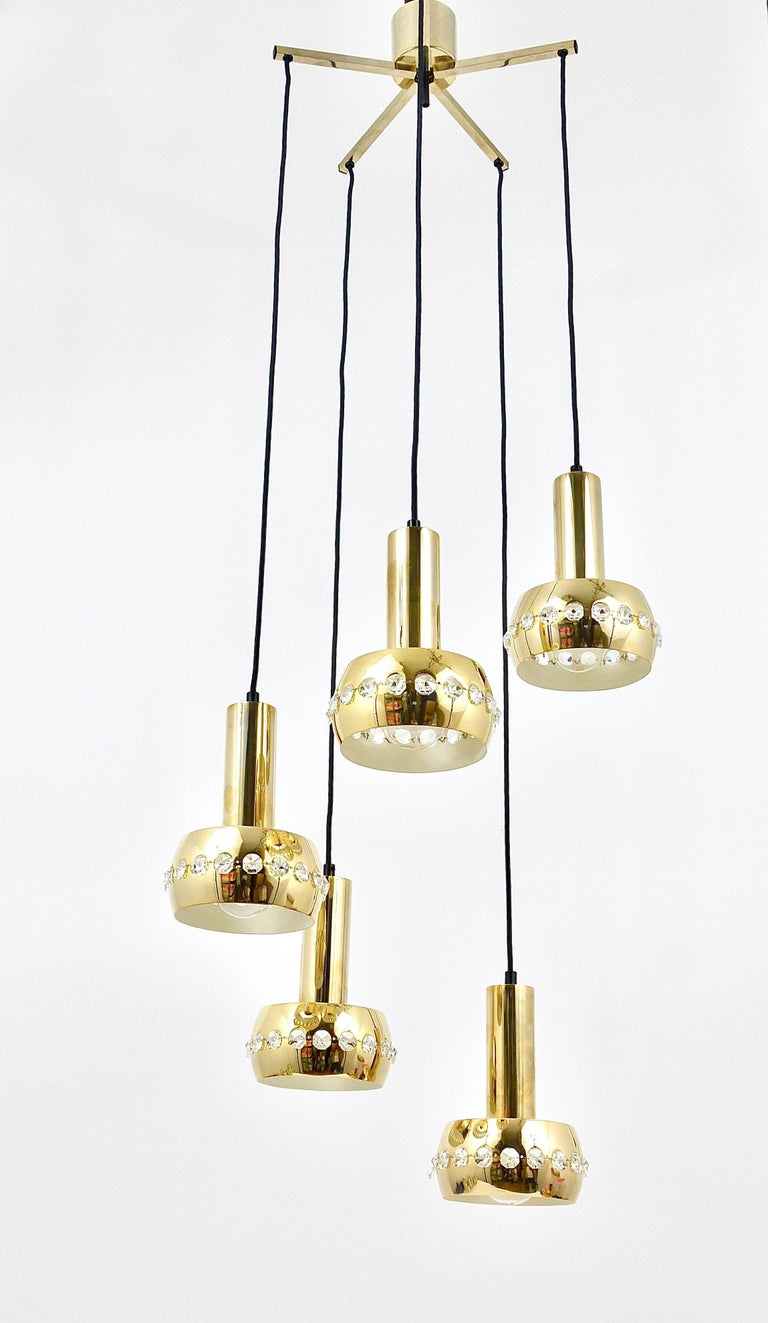 Five-Tier Bakalowits Brass & Crystals Cascade Chandelier Pendant Light, Austria For Sale 4