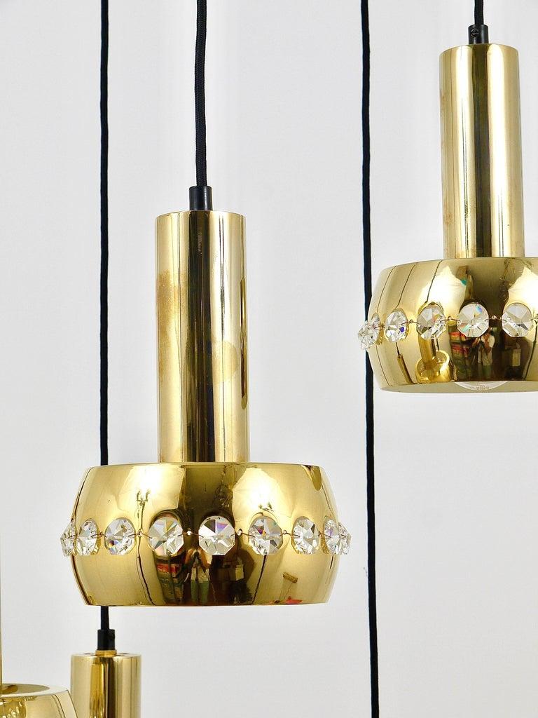 Five-Tier Bakalowits Brass & Crystals Cascade Chandelier Pendant Light, Austria For Sale 5