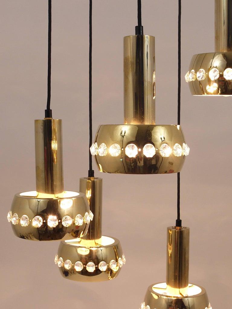 Five-Tier Bakalowits Brass & Crystals Cascade Chandelier Pendant Light, Austria For Sale 6