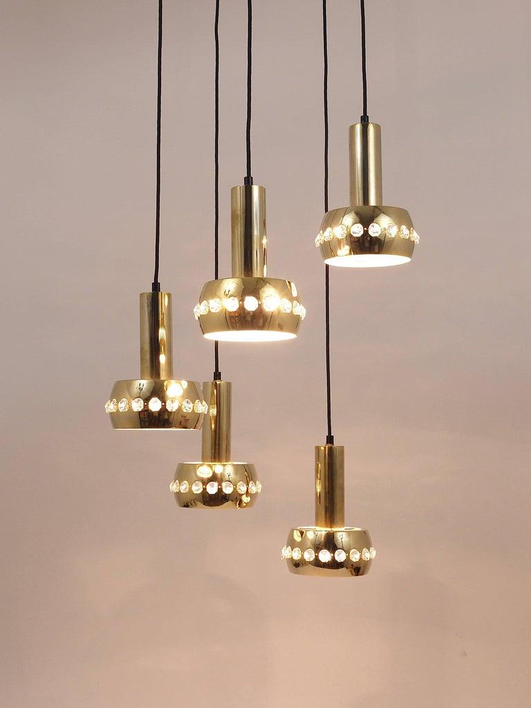 Five-Tier Bakalowits Brass & Crystals Cascade Chandelier Pendant Light, Austria For Sale 7