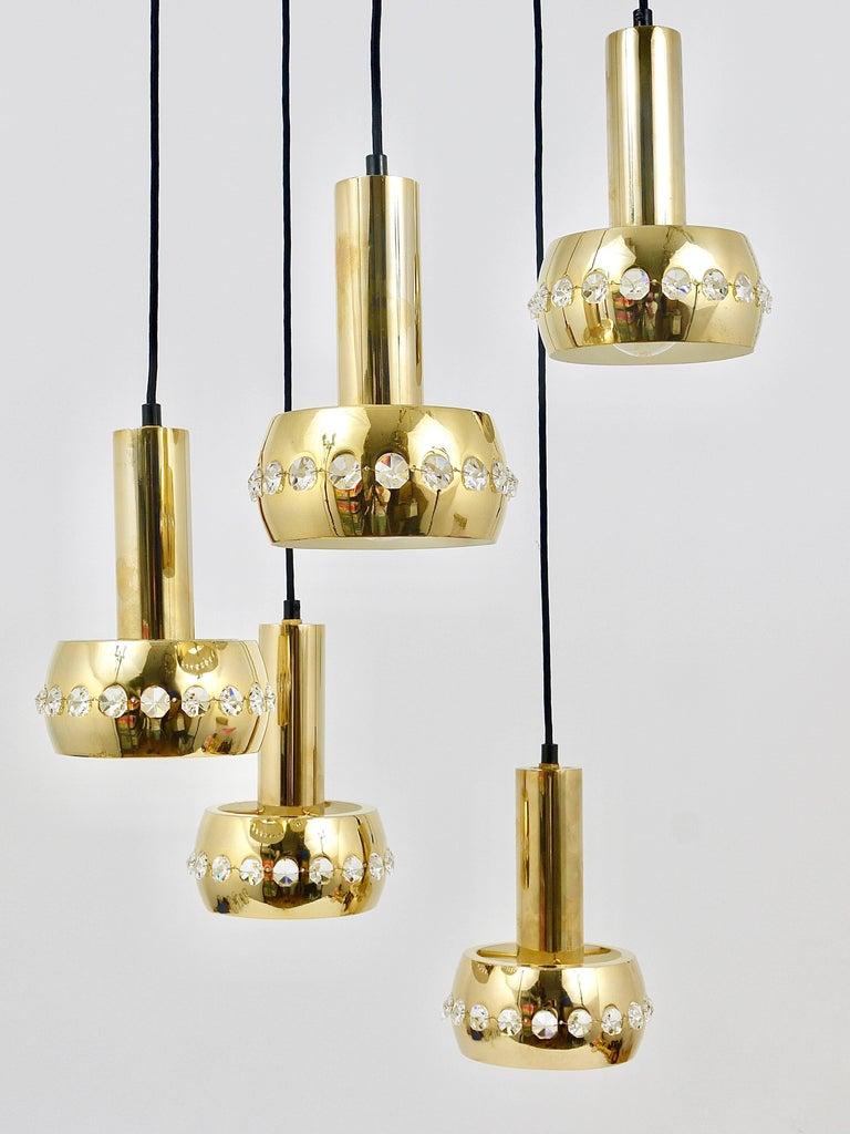 Five-Tier Bakalowits Brass & Crystals Cascade Chandelier Pendant Light, Austria For Sale 8
