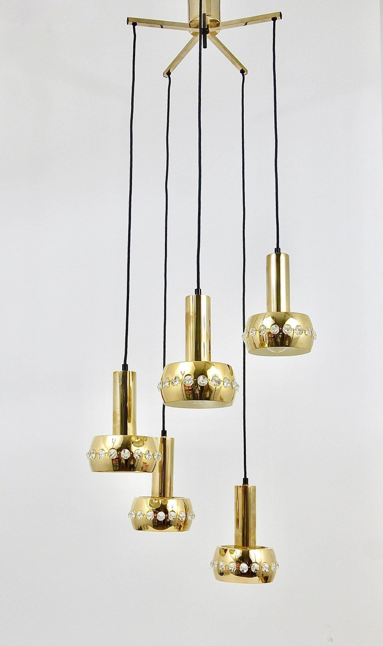 Five-Tier Bakalowits Brass & Crystals Cascade Chandelier Pendant Light, Austria For Sale 9