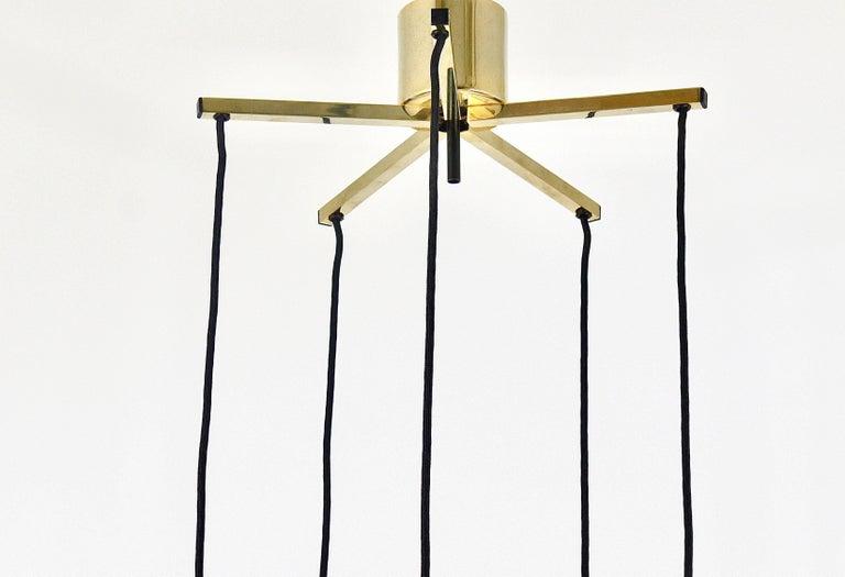 Five-Tier Bakalowits Brass & Crystals Cascade Chandelier Pendant Light, Austria For Sale 10
