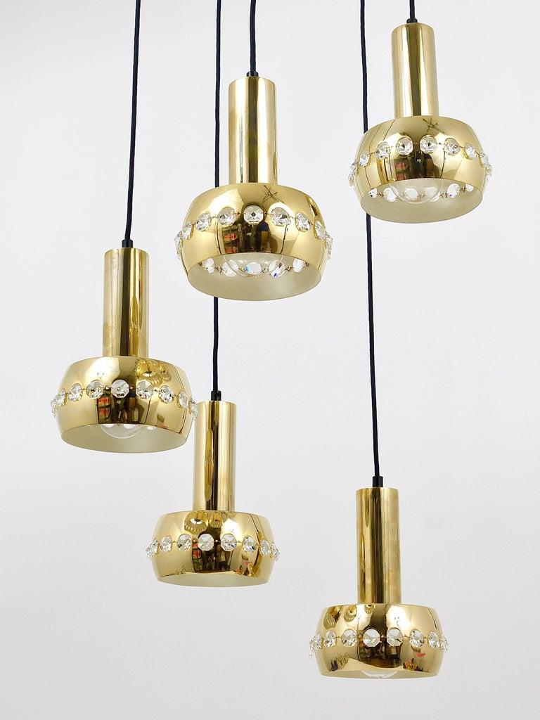 Five-Tier Bakalowits Brass & Crystals Cascade Chandelier Pendant Light, Austria For Sale 11