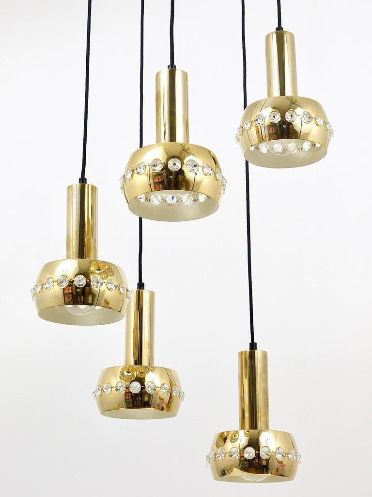 Five-Tier Bakalowits Brass & Crystals Cascade Chandelier Pendant Light, Austria For Sale 12