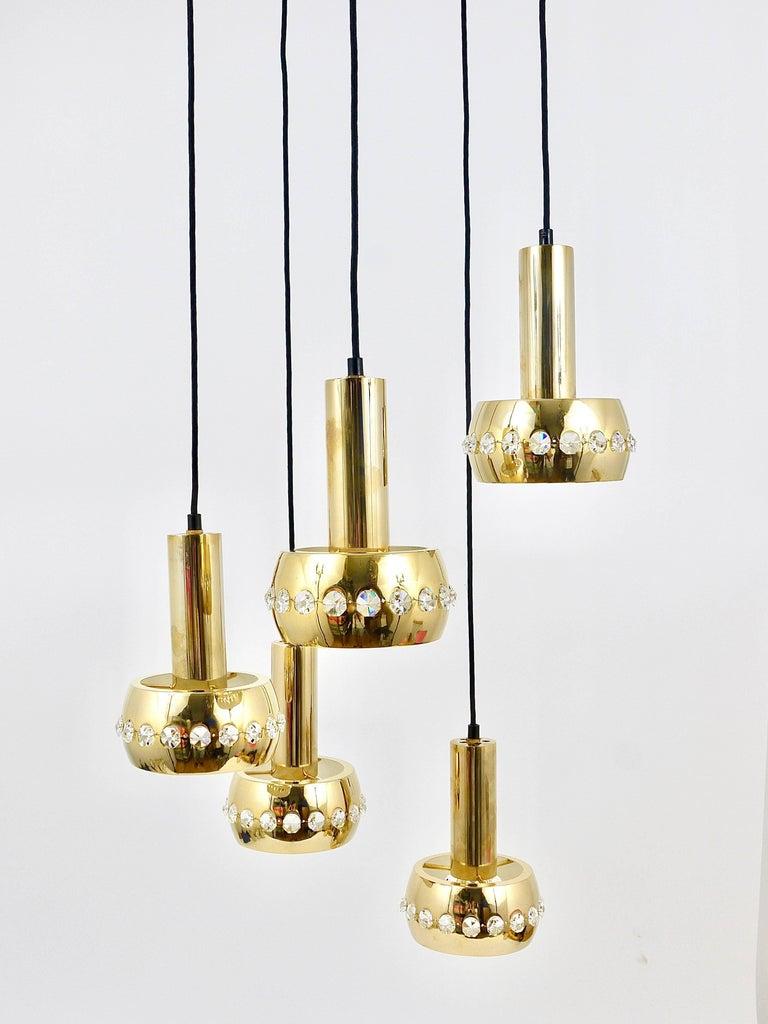 Mid-Century Modern Five-Tier Bakalowits Brass & Crystals Cascade Chandelier Pendant Light, Austria For Sale