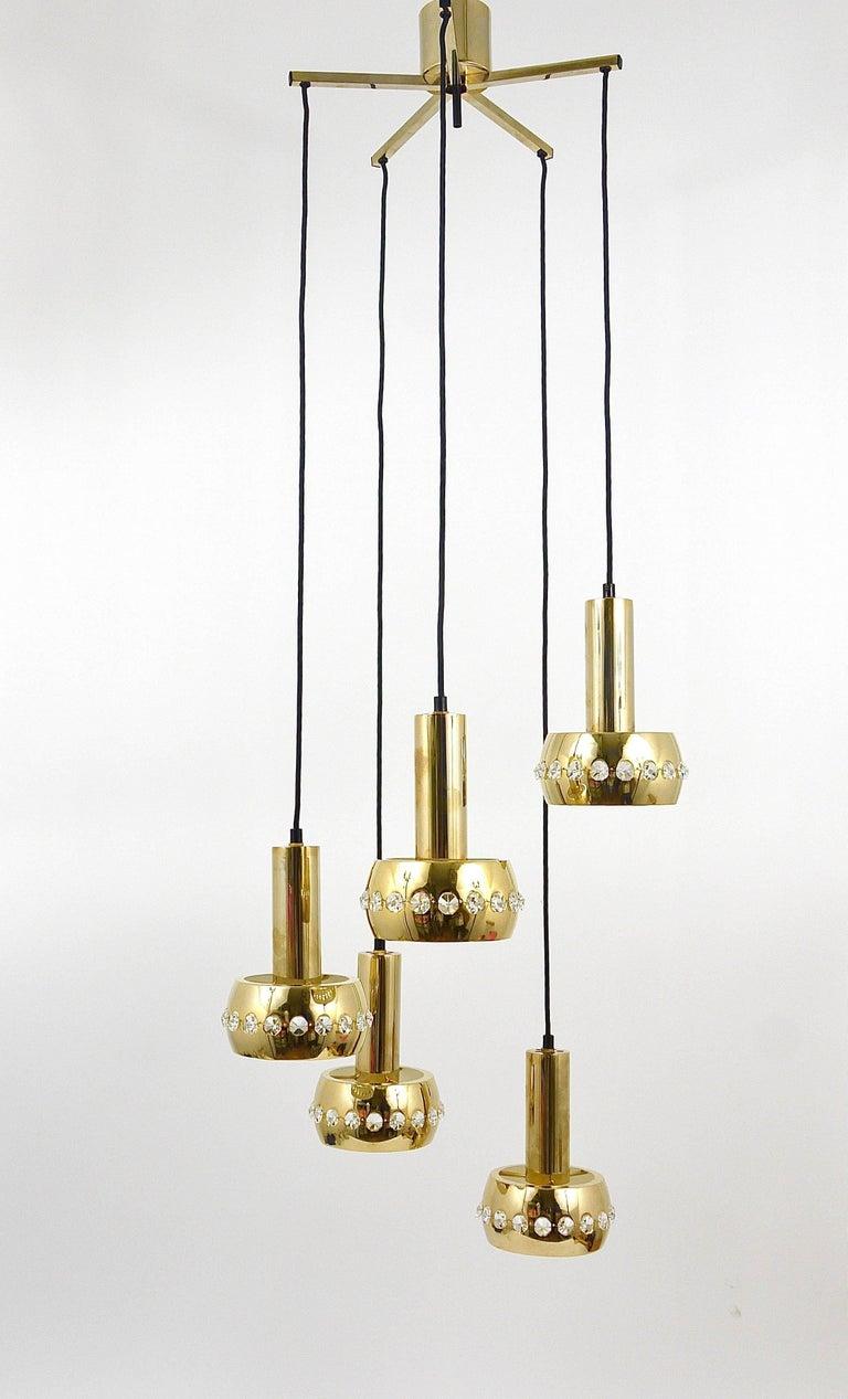 Austrian Five-Tier Bakalowits Brass & Crystals Cascade Chandelier Pendant Light, Austria For Sale