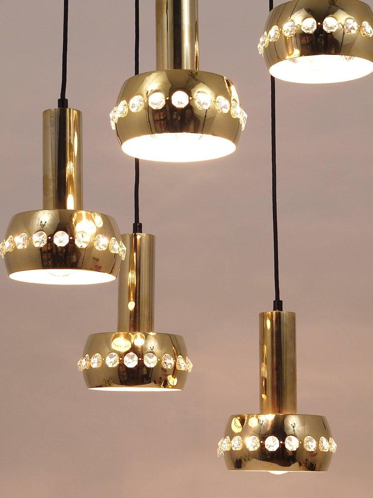 20th Century Five-Tier Bakalowits Brass & Crystals Cascade Chandelier Pendant Light, Austria For Sale