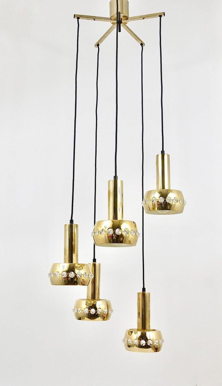 Five-Tier Bakalowits Brass & Crystals Cascade Chandelier Pendant Light, Austria For Sale 2