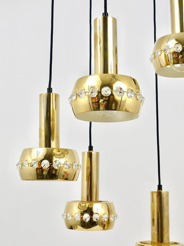 Five-Tier Bakalowits Brass & Crystals Cascade Chandelier Pendant Light, Austria For Sale 3