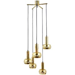 Five-Tier Bakalowits Brass & Crystals Cascade Chandelier Pendant Light, Austria