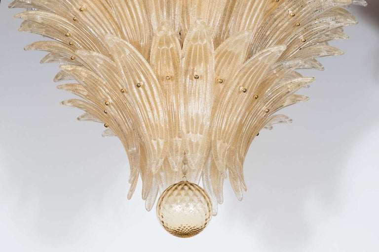 Mid-Century Modern Five-Tier Hand Blown Champagne Murano Glass Palma Chandelier For Sale