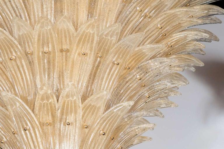 Italian Five-Tier Hand Blown Champagne Murano Glass Palma Chandelier For Sale