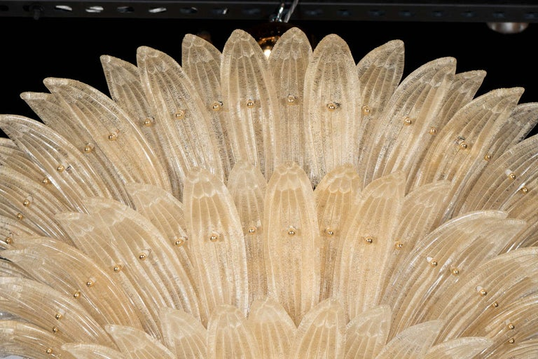 Five-Tier Hand Blown Champagne Murano Glass Palma Chandelier In Excellent Condition For Sale In New York, NY