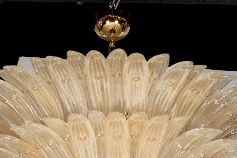20th Century Five-Tier Hand Blown Champagne Murano Glass Palma Chandelier For Sale