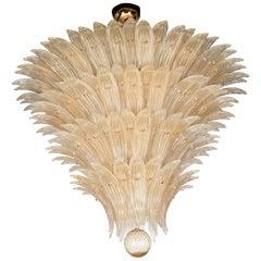 Five-Tier Hand Blown Champagne Murano Glass Palma Chandelier