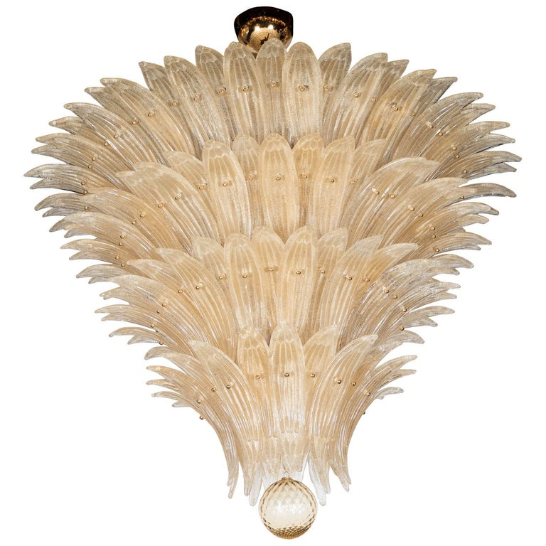 Five-Tier Hand Blown Champagne Murano Glass Palma Chandelier For Sale