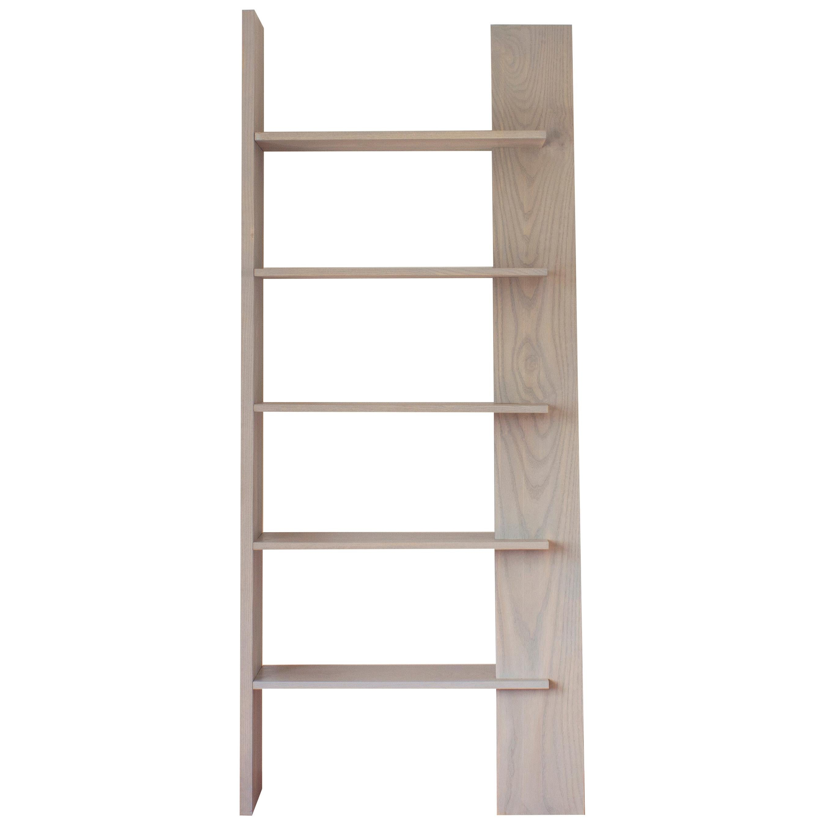 Five Tier Leaning Shelf In Earl Gray Finished White Ashwood By Soft Geometry