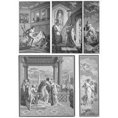 Five Wall Decoration 'En Grisaille' by Dufour, Paris, France, 19th Century