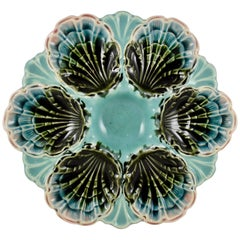 Fives-Lille French Majolica Turquoise Scallop Shell Six Well Oyster Plate