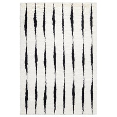 Fjord, Cream/Black, Handwoven Shaggy Berber Rug in Scandinavian Design