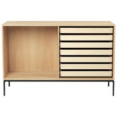 FK63 2110F Cabinet with Shelf in Oak Oil with Legs by Fabricius & Kastholm