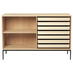 FK63 2110F Deep Cabinet with Shelf in Oak Oil with Legs by Fabricius & Kastholm
