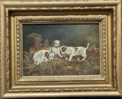 19th century English portrait of 3 Jack Russel puppies playing in an interior