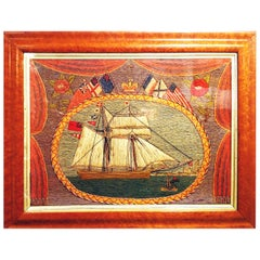 Flag of Nations Sailor's Woolwork of a Schooner-Brig, circa 1870