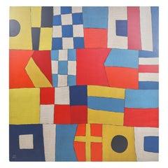"""Flags: by Tetsuo Mizu"" Oil on Board 39""x 39"""